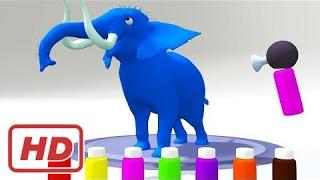 Farben lernen, Farben mit Elefant | Malvorlagen für Kinder | Farben für Kinder mit Farben Tiere