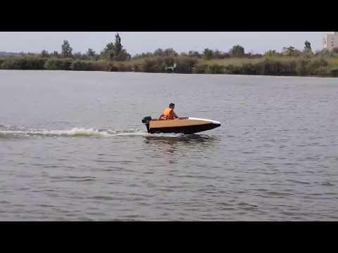 Старт с места. Самодельная лодка плоскодонка. 1 человек. Лодочный гибрид + нога ветерок + гидрокрыло