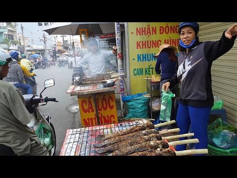 Street Food Saigon Vietnam 2017 - Grilled Snake Head Fish - Ca Loc Nuong via Than Tai