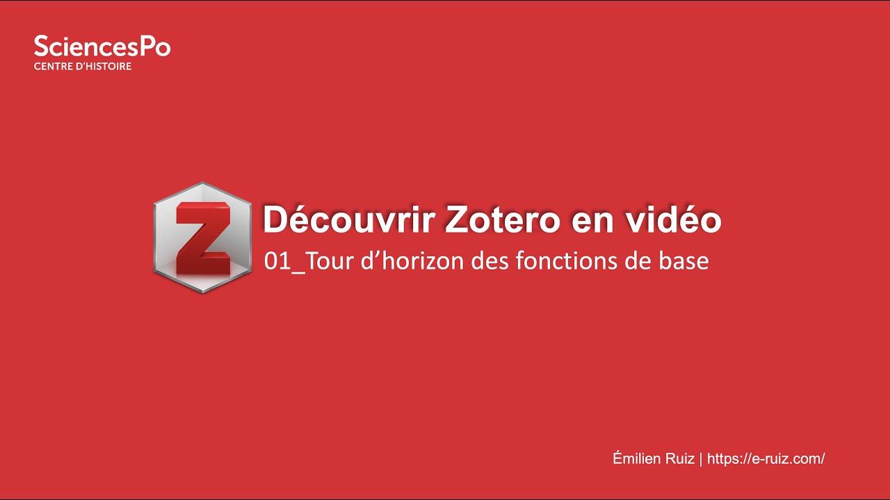 Youtube Video: Zotero en vidéo : 01_démonstration générale
