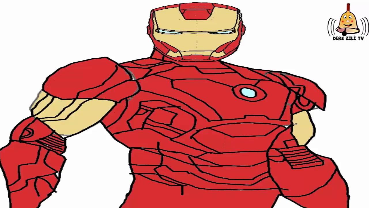 Demir Adam çizimi Adım Adım Basit çizim How To Draw Iron Man