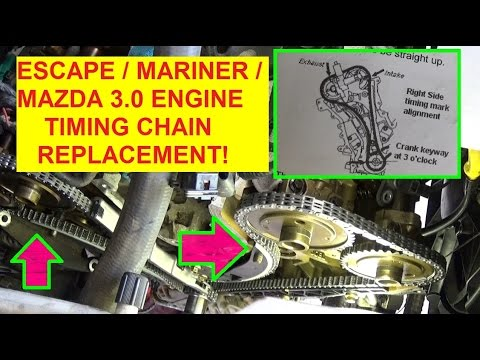 ford escape mazda tribute mercury mariner timing chain replacement and  timing marks
