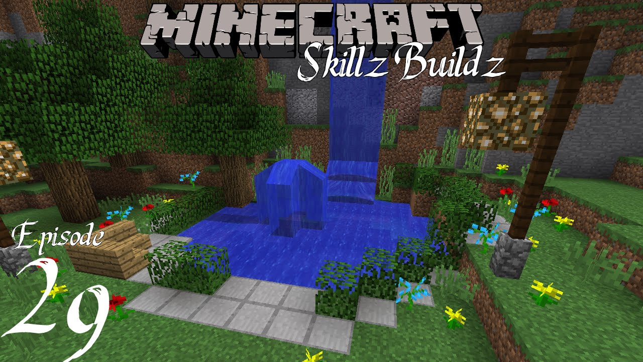 Small flower gardens ideas - Cool Custom Waterfall And Pond Skillz Buildz Vanilla Minecraft 1 9
