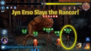 Star Wars Galaxy of Heroes: Jyn Erso Slays the Rancor!