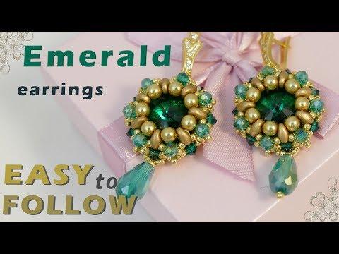 Handmade jewelry - Earrings with 16 mm rivolis - tutorial
