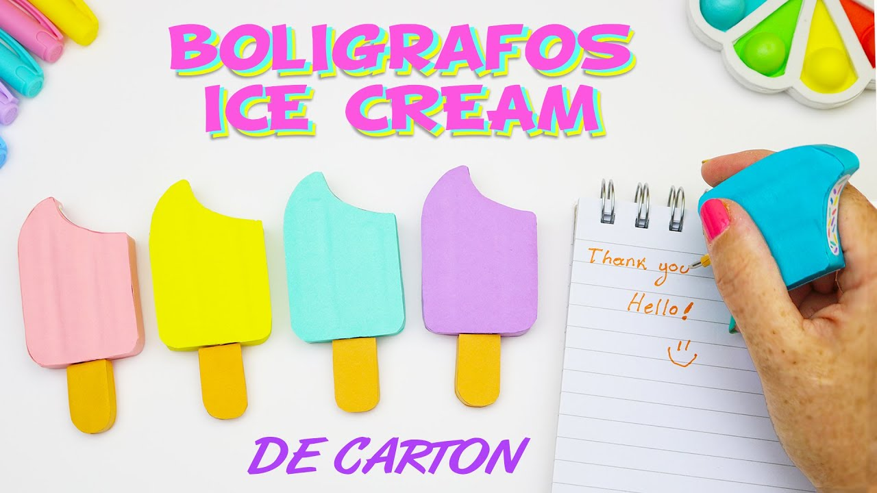 BOLIGRAFOS Helado Paleta de CARTON - LAPICEROS Ice Cream - Regreso a clases | Manualidades aPasos
