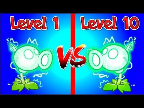 Plants vs Zombies 2 Compare Electric Peashooter Level 1 vs Electric Pea 10 Max level PVZ 2