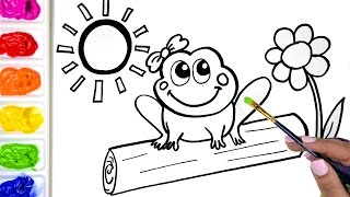 Coloring a Cute Girl Frog Coloring Book, Drawing a Frog and a Flower Coloring Page