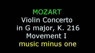 Music Minus One: Mozart Violin Concerto No. 3 in G major, K. 216 (1st movement)