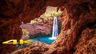 Havasupai Falls  4K Waterfall caves rocks