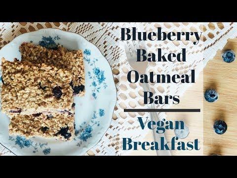 Blueberry Baked Oatmeal BarsVegan Breakfast Ideas