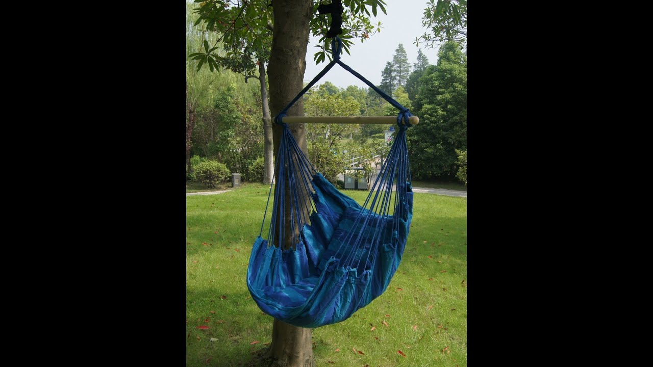 SueSport Hanging Rope Chair Max265 Lbs Blue  YouTube