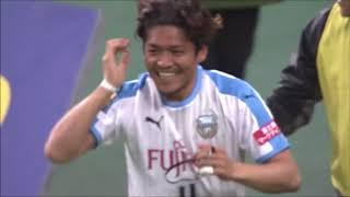 FKからオフサイドギリギリで飛び出した大久保 嘉人(川崎F)がフリーで...