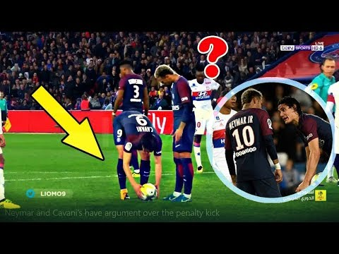 Neymar JR & Cavani Fight for Penalty & Free Kick - PSG vs Lyon 2-0 HD