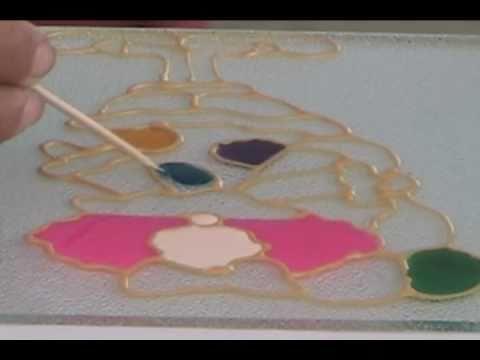 Arte de falso vitral   pintura en vidrio   youtube