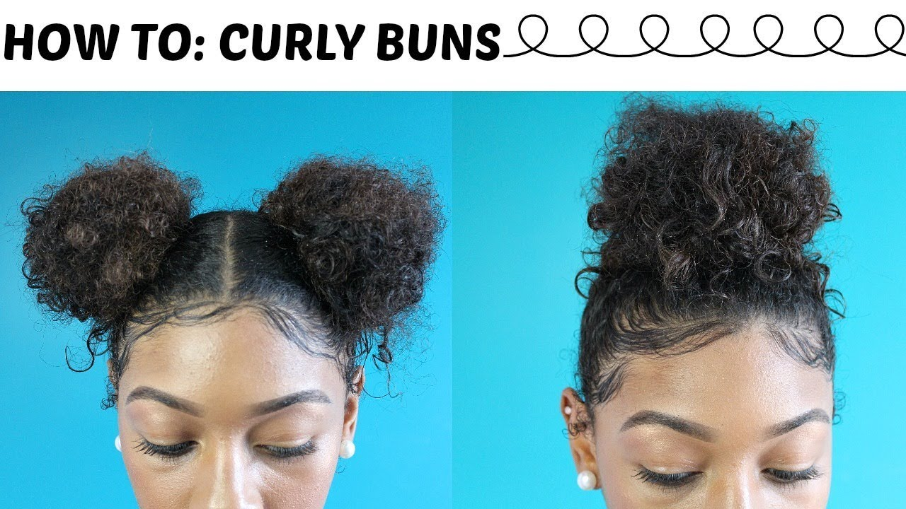 How To 5 Minute Natural Curly Bun Hairstyles Laid Baby Hairs