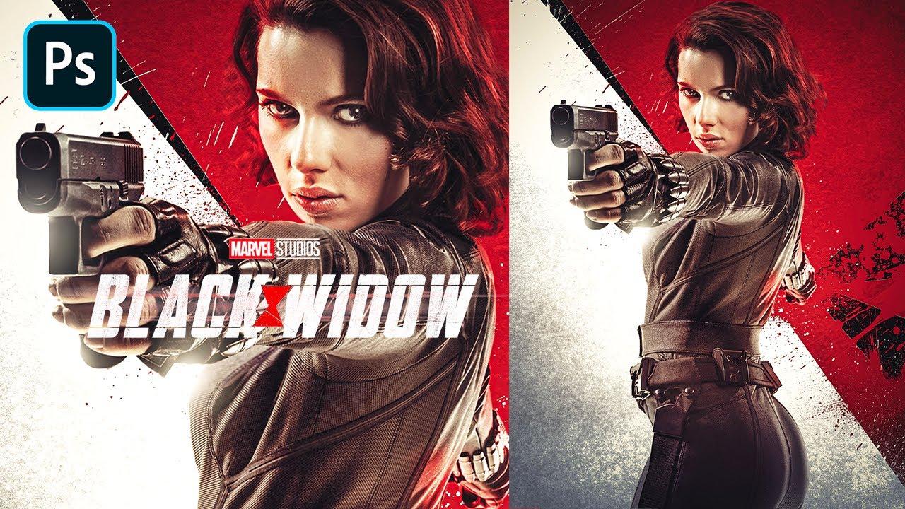 black widow 2020 movie poster photoshop tutorial