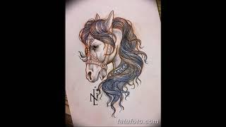 Эскизы тату конь - примеры интересных рисунков для татуировки лошадь