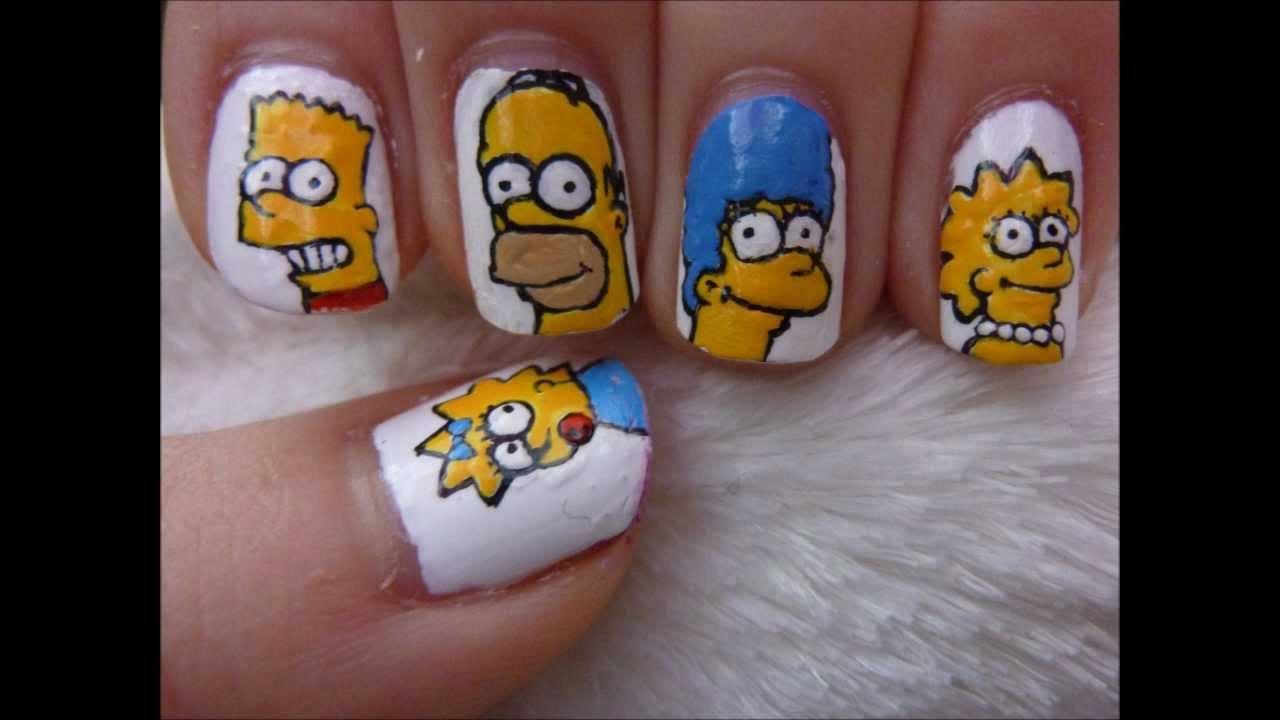 Character Design Nail Art : Simpsons nail art youtube