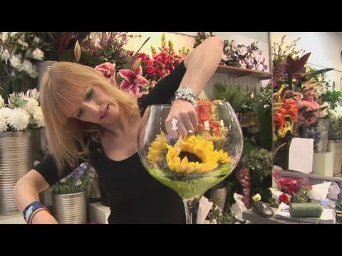 How To Arrange Sunflowers In A Wine Glass Youtube