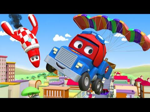El Camión Paracaidas - Carl el Super Camión en Auto City | Dibujos animados para niños
