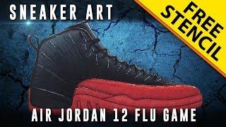 Sneaker Art: Air Jordan 12 Flu Game w/ Downloadable Stencil