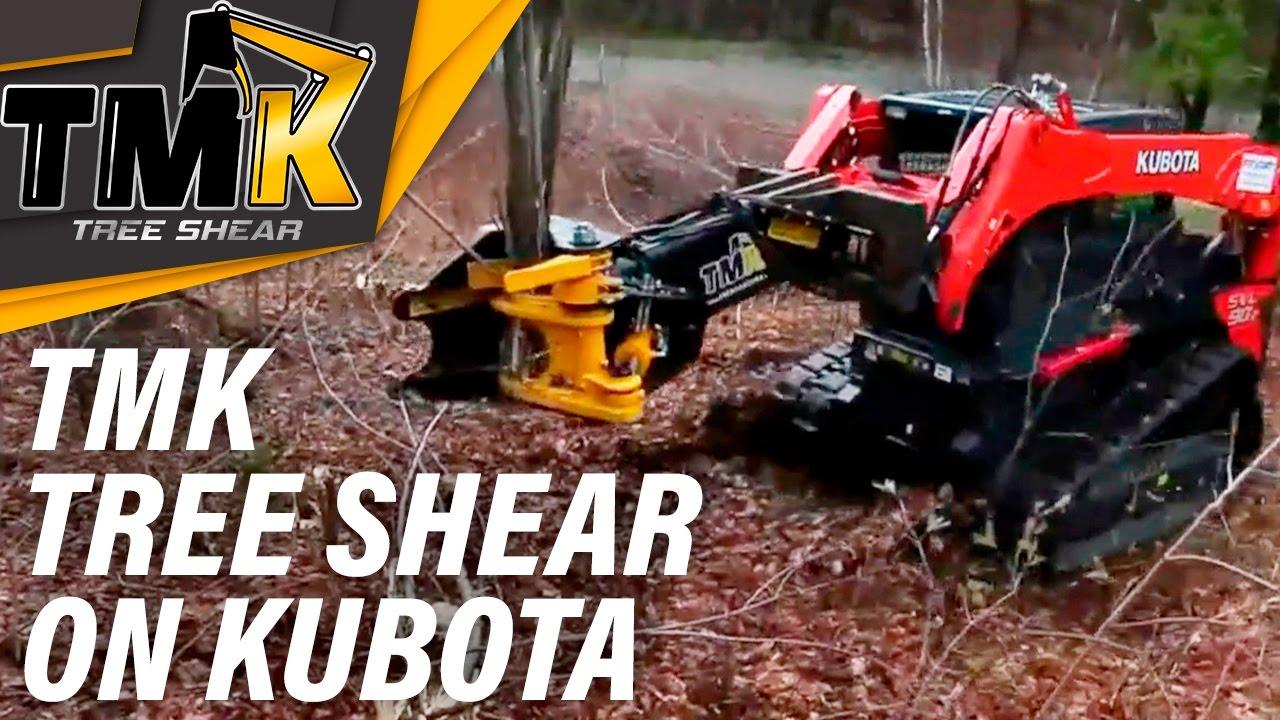 Tmk Tree Shear On A Kubota Skid Steer