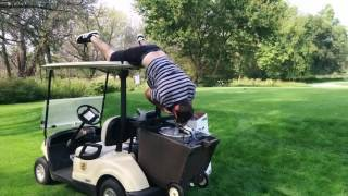 Kyle trying a keg stand golf style