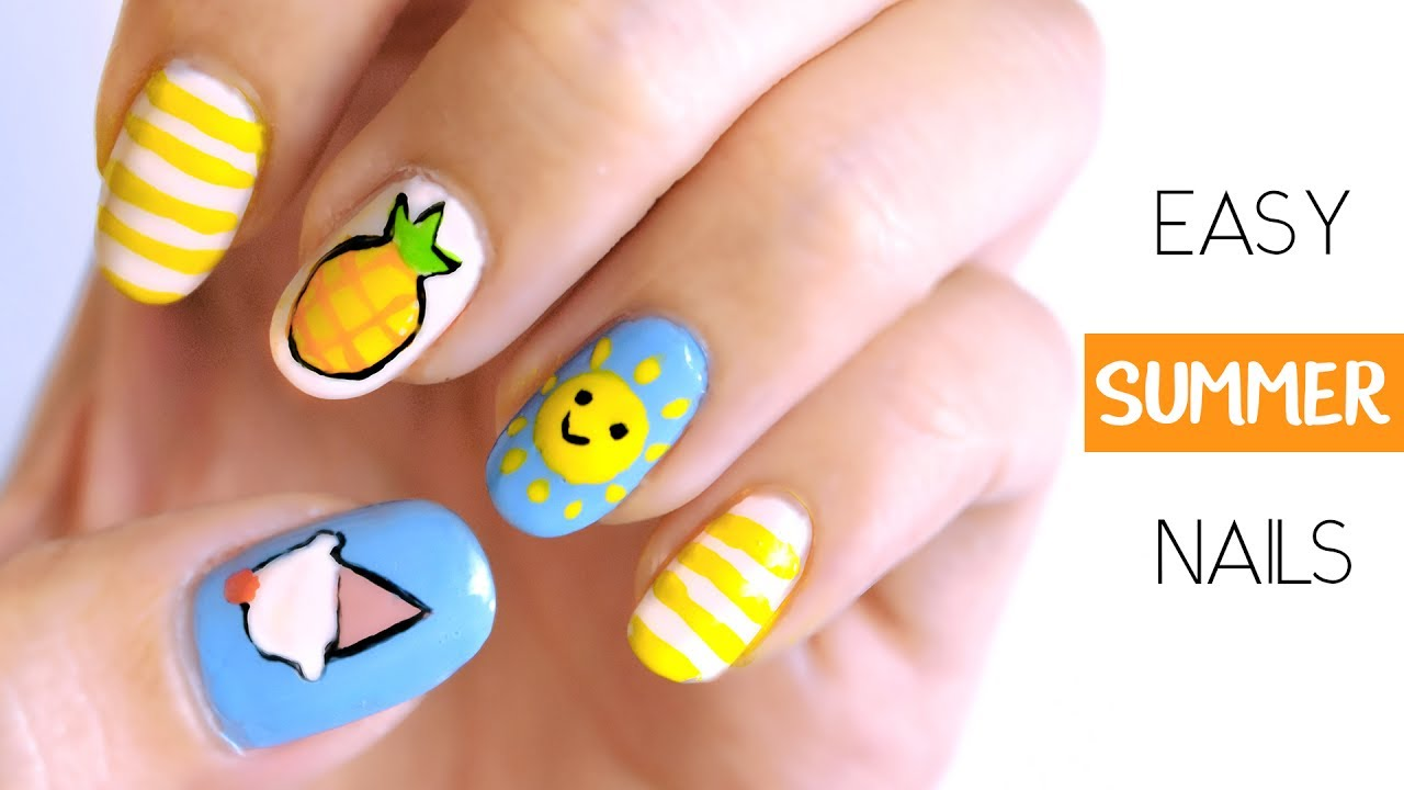 Summer Nails 2017 : Easy + Cute Nail Art - YouTube