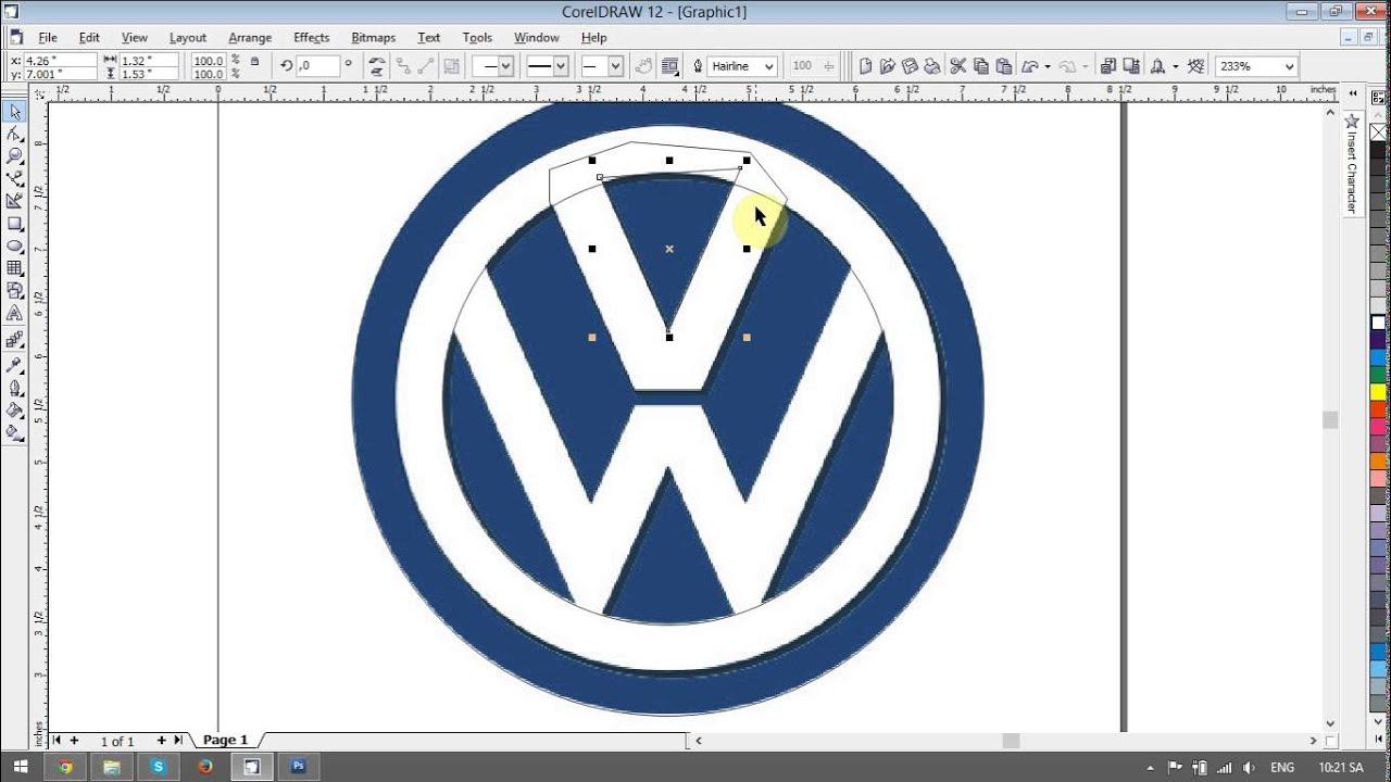 Volkswagen logo design tutorials in Corel Draw - YouTube