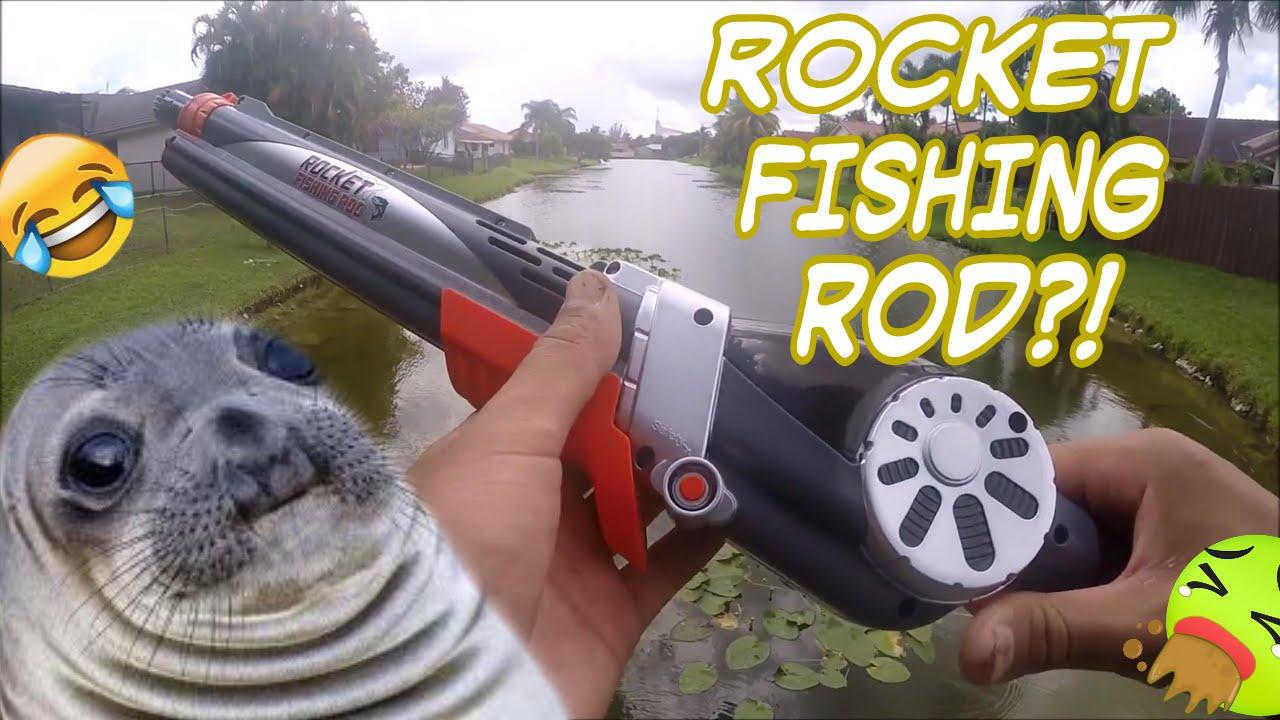 Toy fishing rod catches fish rocket fishing rod youtube for Gun fishing rod