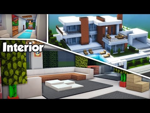 Minecraft: Large Modern House (#15) Interior Tutorial - How to Build a House in Minecraft