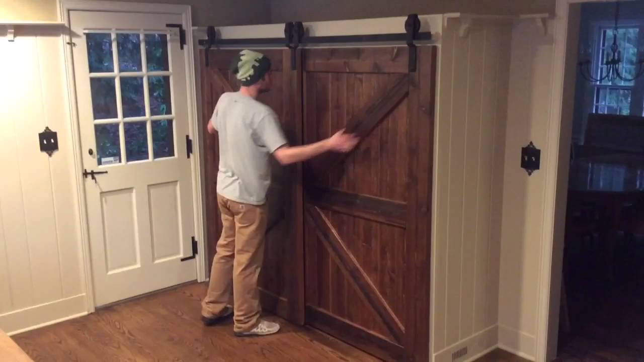 Bypass Barn Door Hardware single track bypass barn door system - youtube