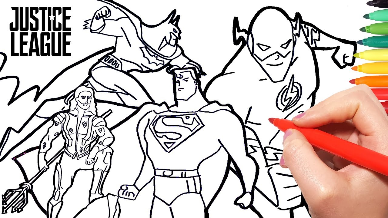 Justice League Coloring Pages | How to Draw Superman Batman Flash ...