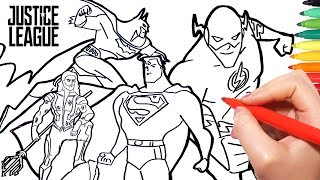 Justice League Coloring Pages | How to Draw Superman Batman Flash and Aquaman for Kids