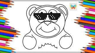 Как нарисовать Желейного Медведя Валеру с очками Рисуем и Учим Цвета Kids Coloring