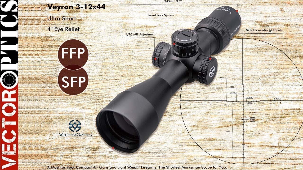 Vector Optics Veyron 3-12x44 FFP 30MM Compact CQB Airgun Rifle Scopes SF  10YDS 1/10MIL 1CM