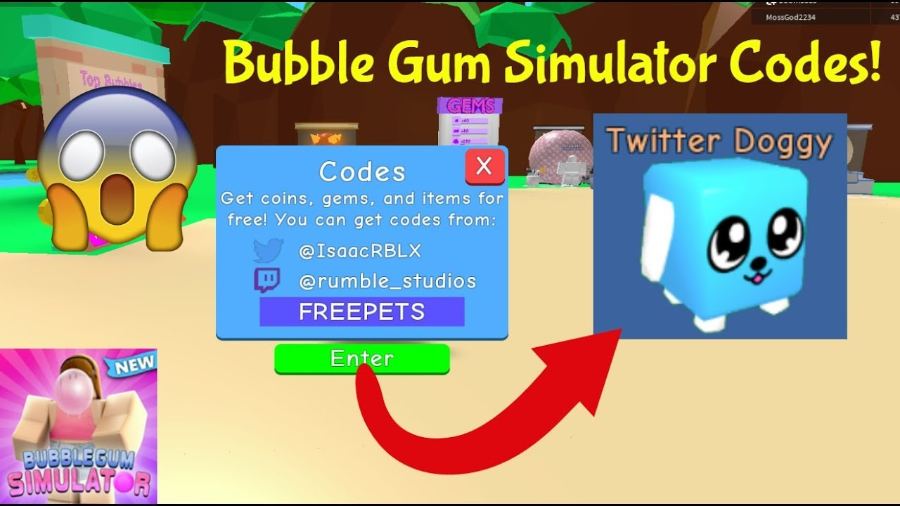 Roblox bubble gum simulator codes