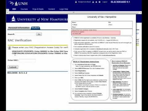 UNH Register for Classes with a RAC - YouTube