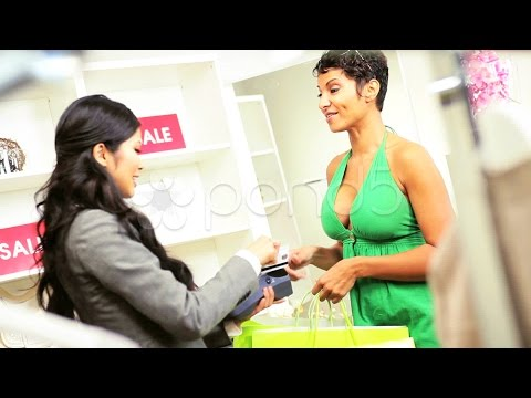African American Female Credit Card Fashion Store. Stock Footage