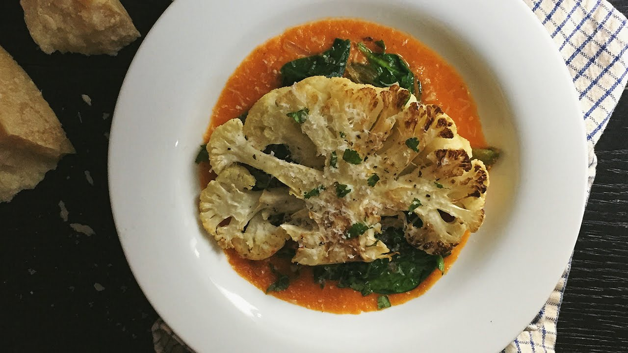 Cauliflower Steaks with Tomato Purée and Garlic Butter Vegetables ...