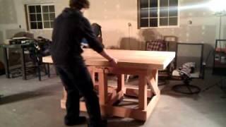 Pneumaticly Lifted Oak Work Bench