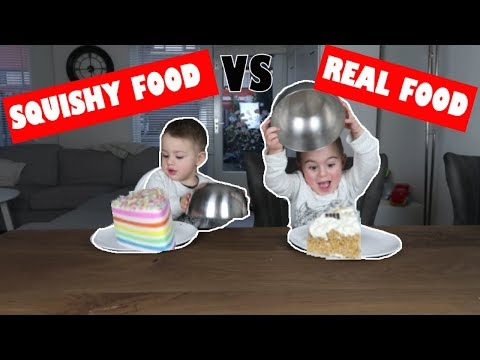 SQUISHY VS REAL FOOD CHALLENGE 🍔🍩🎂| #25 (BANGGOOD SQUISHIES)