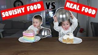 SQUISHY VS REAL FOOD CHALLENGE 🍔🍩🎂  #25 (BANGGOOD SQUISHIES)