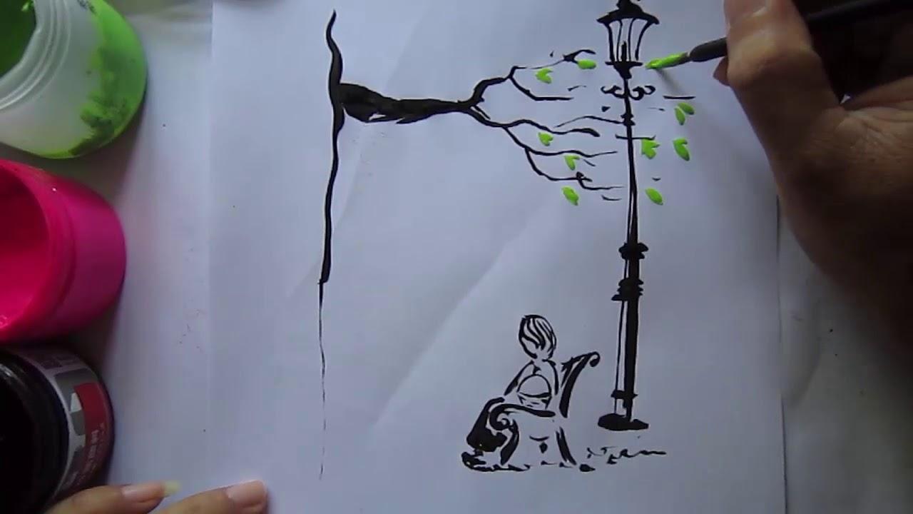 Vẽ tranh chờ người nơi ấy – Vẽ cô gái ngồi chờ người yêu