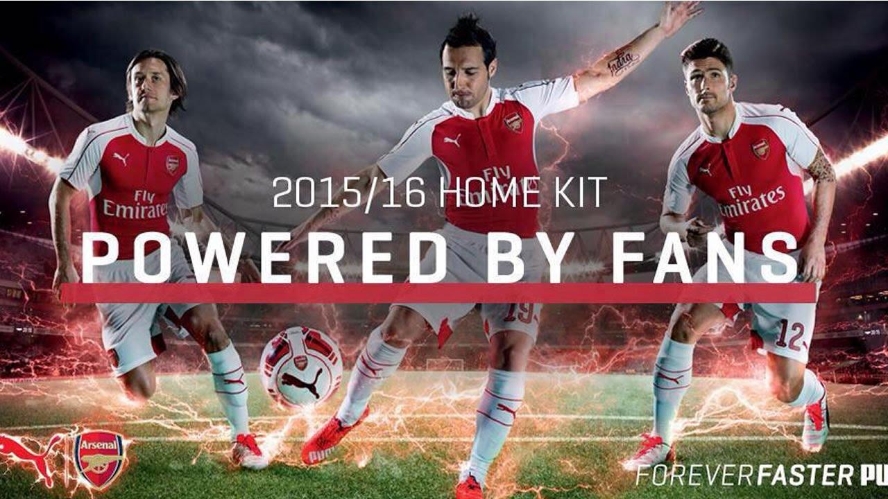23f92499d Arsenal 2015-16 PUMA Home Kit Launch - YouTube