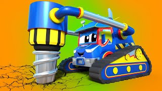 Truck videos for kids -  Super GIANT DRILL saves the DEMOLITION CRANE from hard trouble - Car city