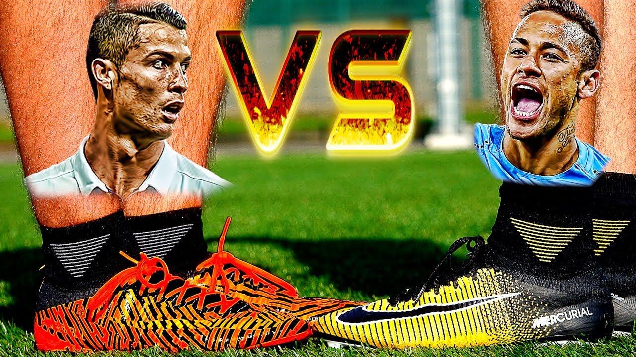 e4e1a886e776 Ronaldo VS Neymar Boot Battle: GOLD NIKE Mercurial Superfly V vs ...