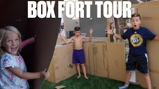 24 HOUR OVERNIGHT BOX FORT CHALLENGE ON A SCHOOL NIGHT! HUGE CARPETED BOX FORT TOUR