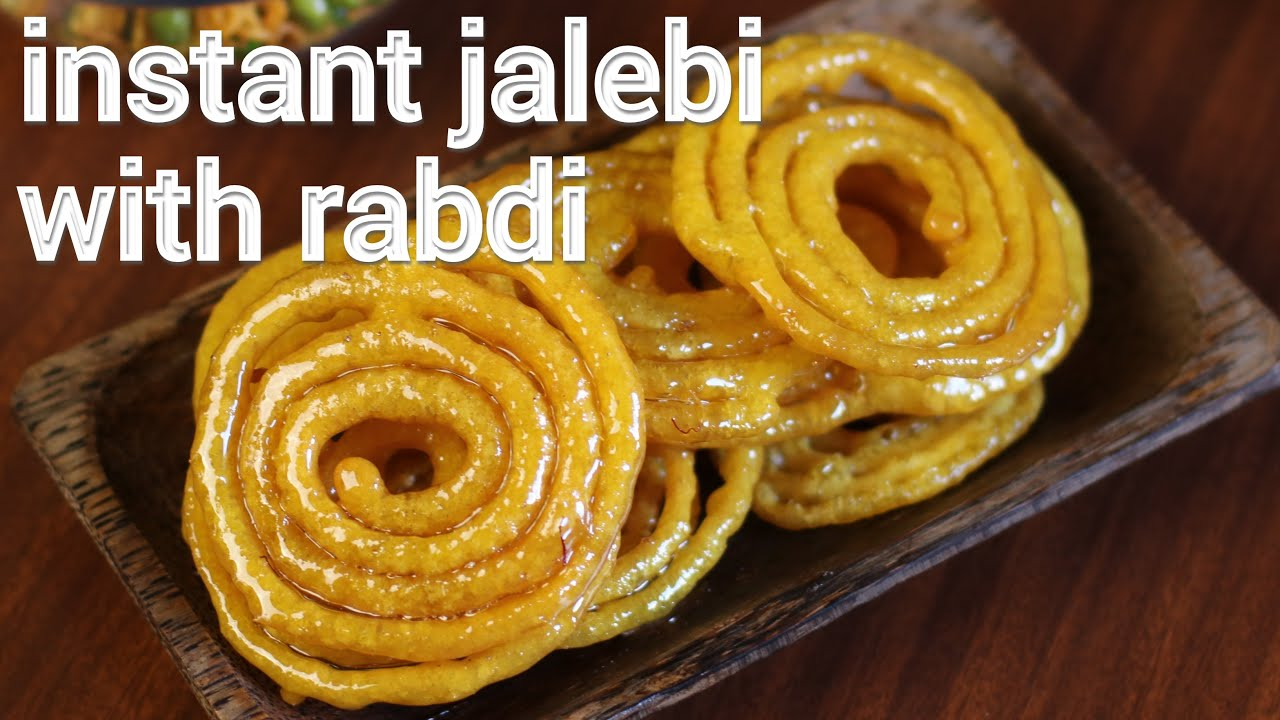 instant halwai jalebi recipe with rabdi   rabdi recipe ...